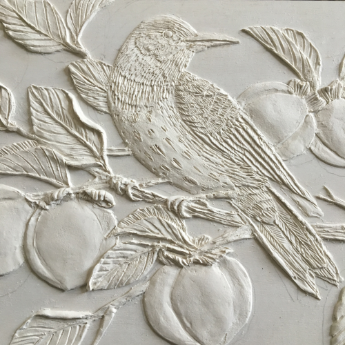 Flicker in a Persimmon Tree, paper clay on panel, detail from 6x8