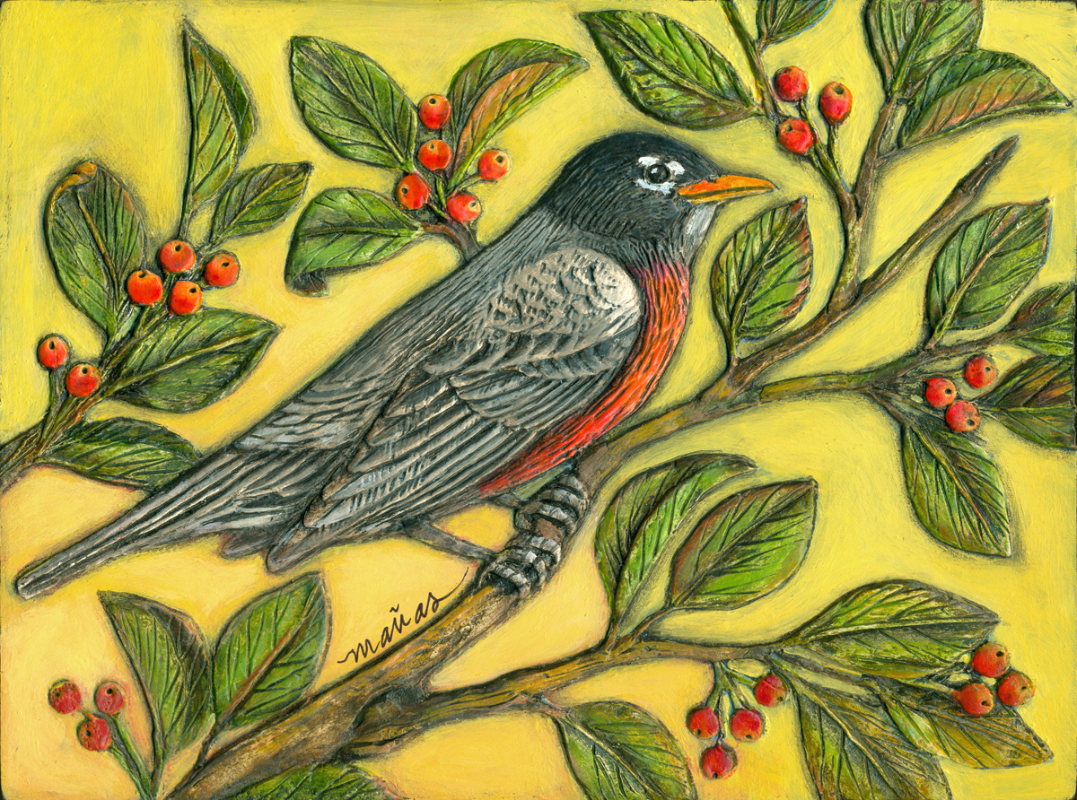 Robin in a Crabapple Tree