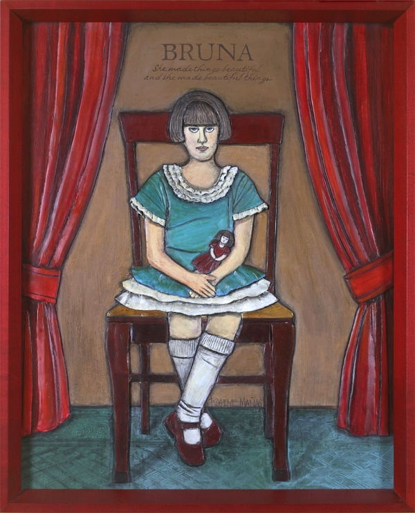 Little Bruna, Paper clay/mixed media, 12 x 18, completed in 2004