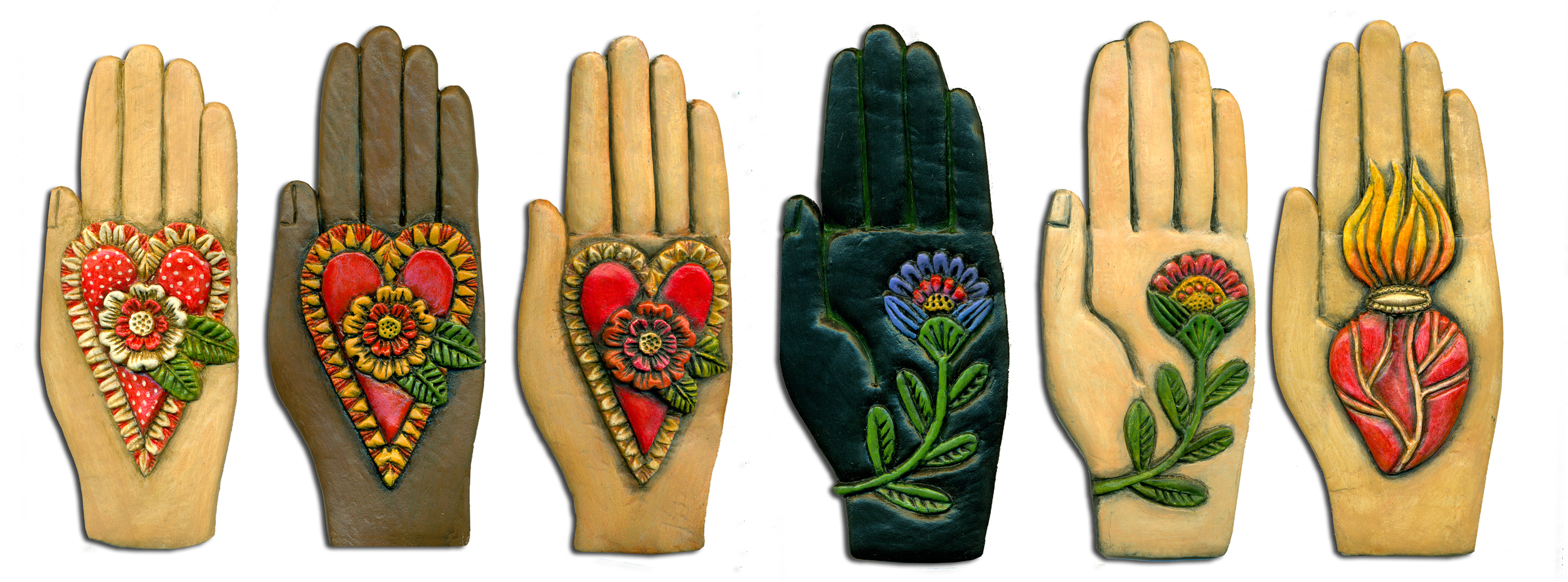 """HEARTFELT HANDS, PAPER CLAY AND ACRYLIC, EACH HAND IS 2 1/4"""" X 5 1/2""""."""