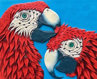 Scarlet Macaws  This is my first efforts working with Paper clay, and depicts two scarlet Macaws preening eachothers feathers in a display of affection.  The piece measures 10 x 12 inches and is paperclay on acrylic primed canvas board. I followed Rogene's detailed instructions and look greatly forward to working further in this enjoyable medium.  Thank you for all of the instructions and inspiration packed into your book!
