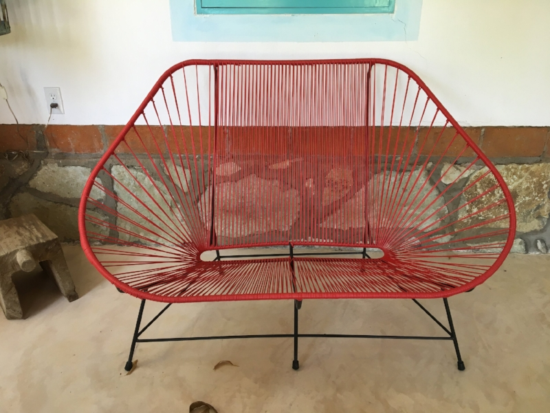 Simple yard furniture made in Oaxaca. Stays put in high winds. Practical and very cool.