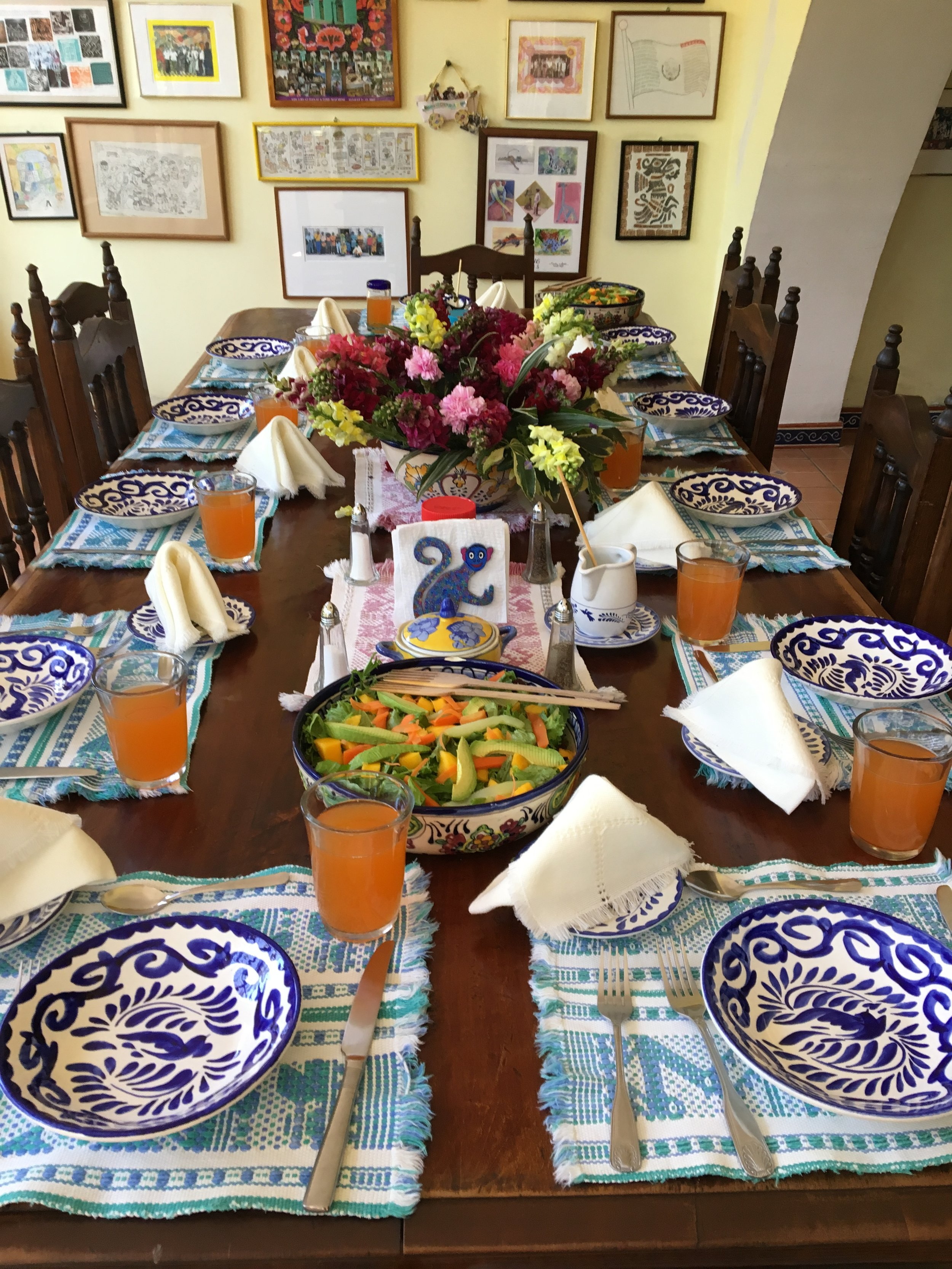 Our dining table at the Casa...delicious food, day and night.