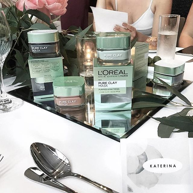 So happy to see our little watercolour name cards amongst this beautiful spread @lorealskin ! -- Repost from the gorgeous @katerina_beauty_blog ❥ -- #lorealskin #lorealpureclaymask #love #skincare
