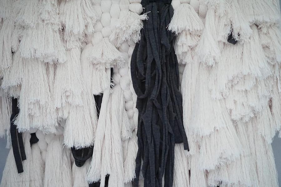 Natalie Jones 'BOHO STORM' Landscape Series Woven Wall hanging Fibre Art Weave side view.jpg.jpg