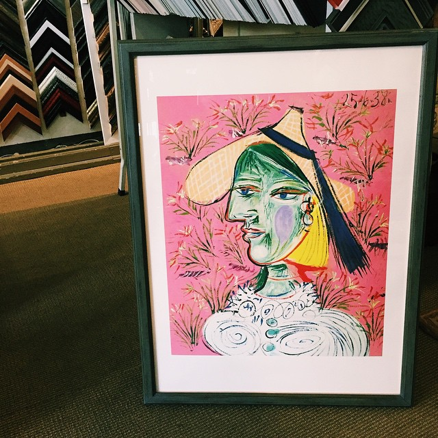 So many beautiful colors in this piece 🍋 #shermanmcnulty #CustomFraming #interiordesignla #artwork #LAart