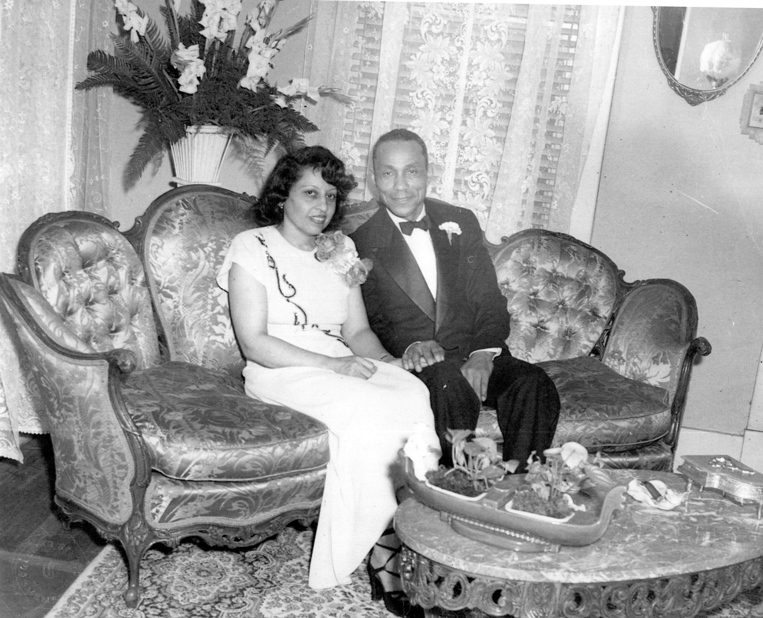 Erica's great-grandparents in their living room on Parkway, circa 1950's.