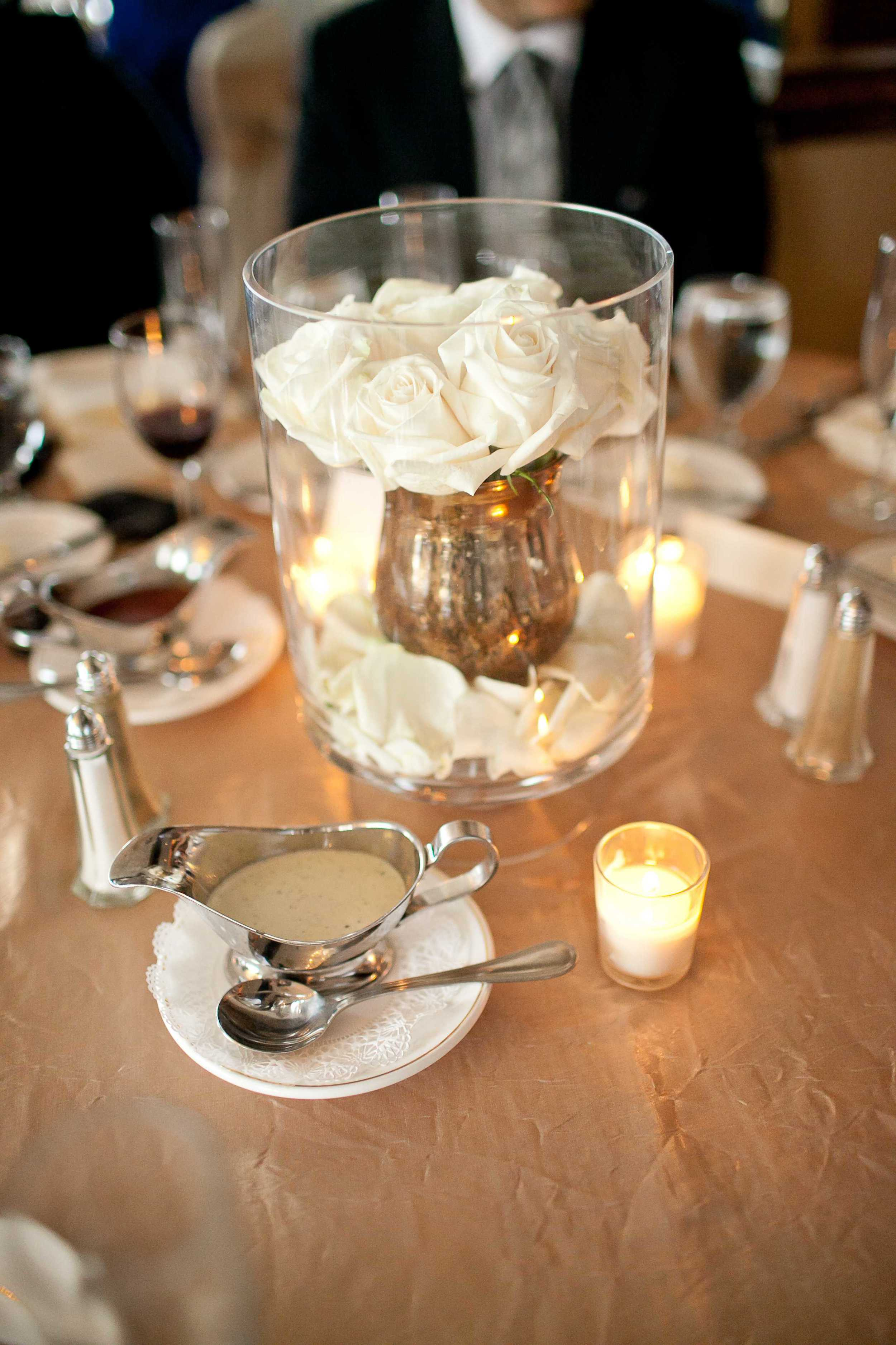 "img src=""httpwww.theparkwayevents.jpg"" alt=""San Francisco Bay Area Wedding Coordinator Centerpiece White Roses Gold Vase"".jpg"