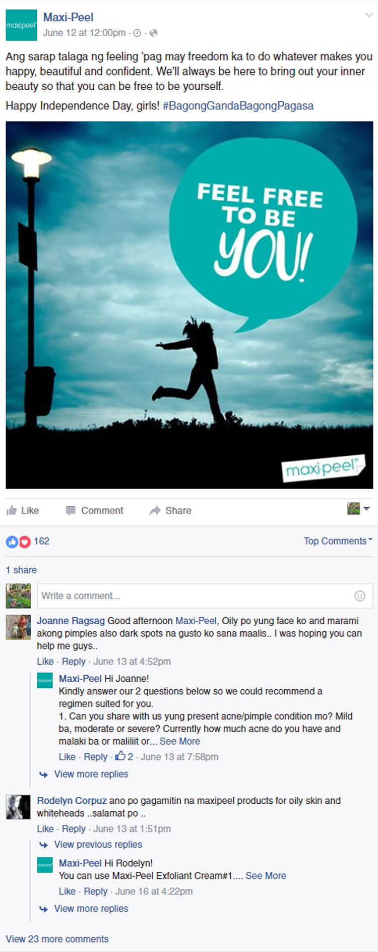 Maxi-Peel Facebook Post