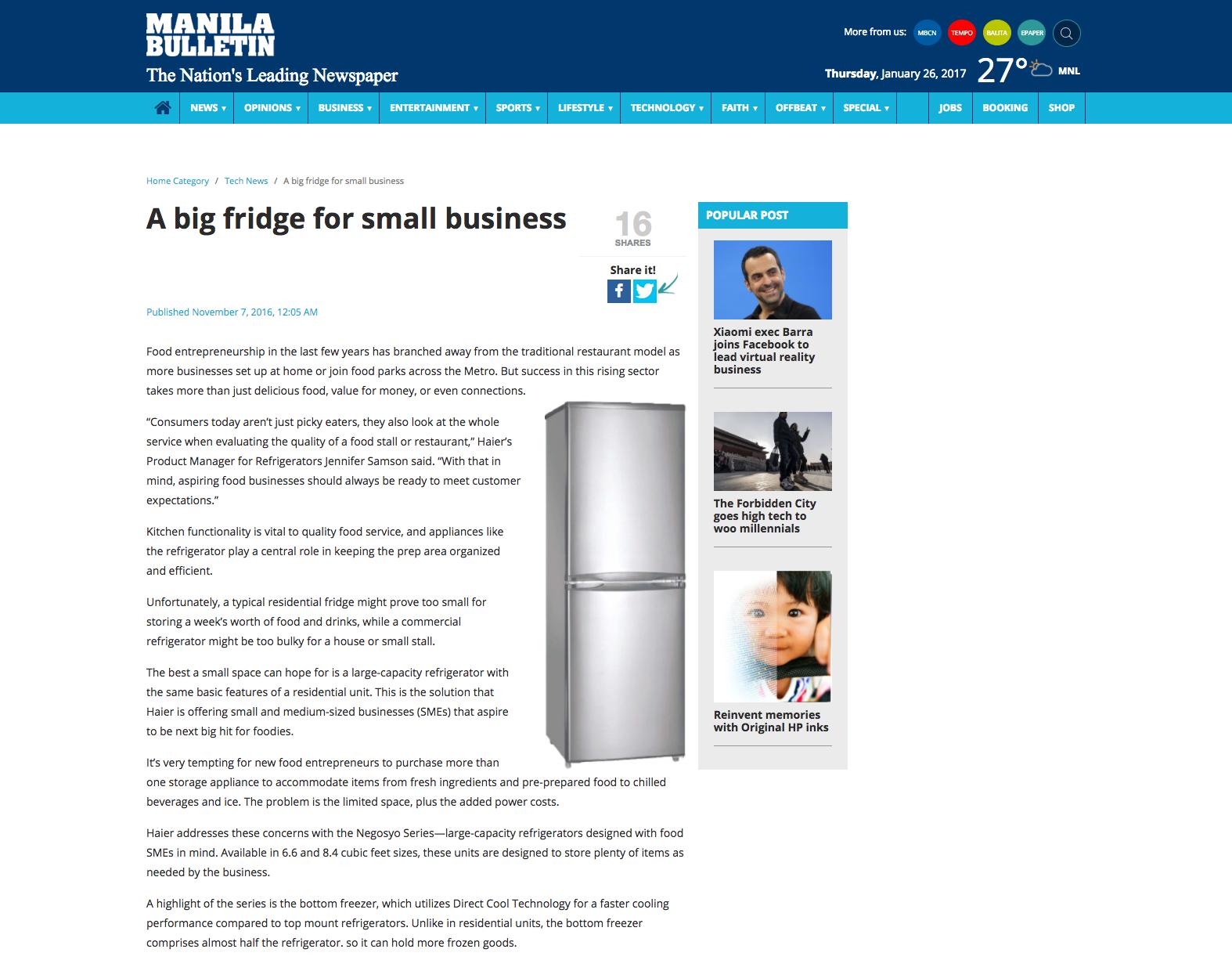 Haier: Big Fridge For Small Business
