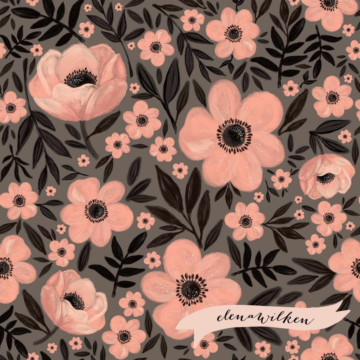 Anemones - Charcoal