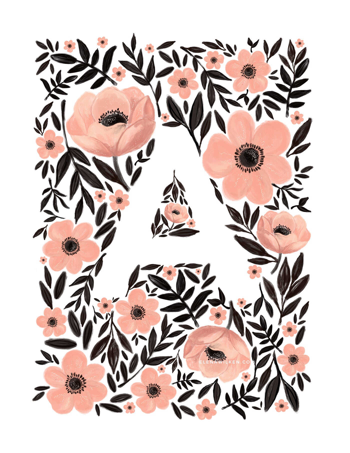 Anemones - Language of Flowers Alphabet print