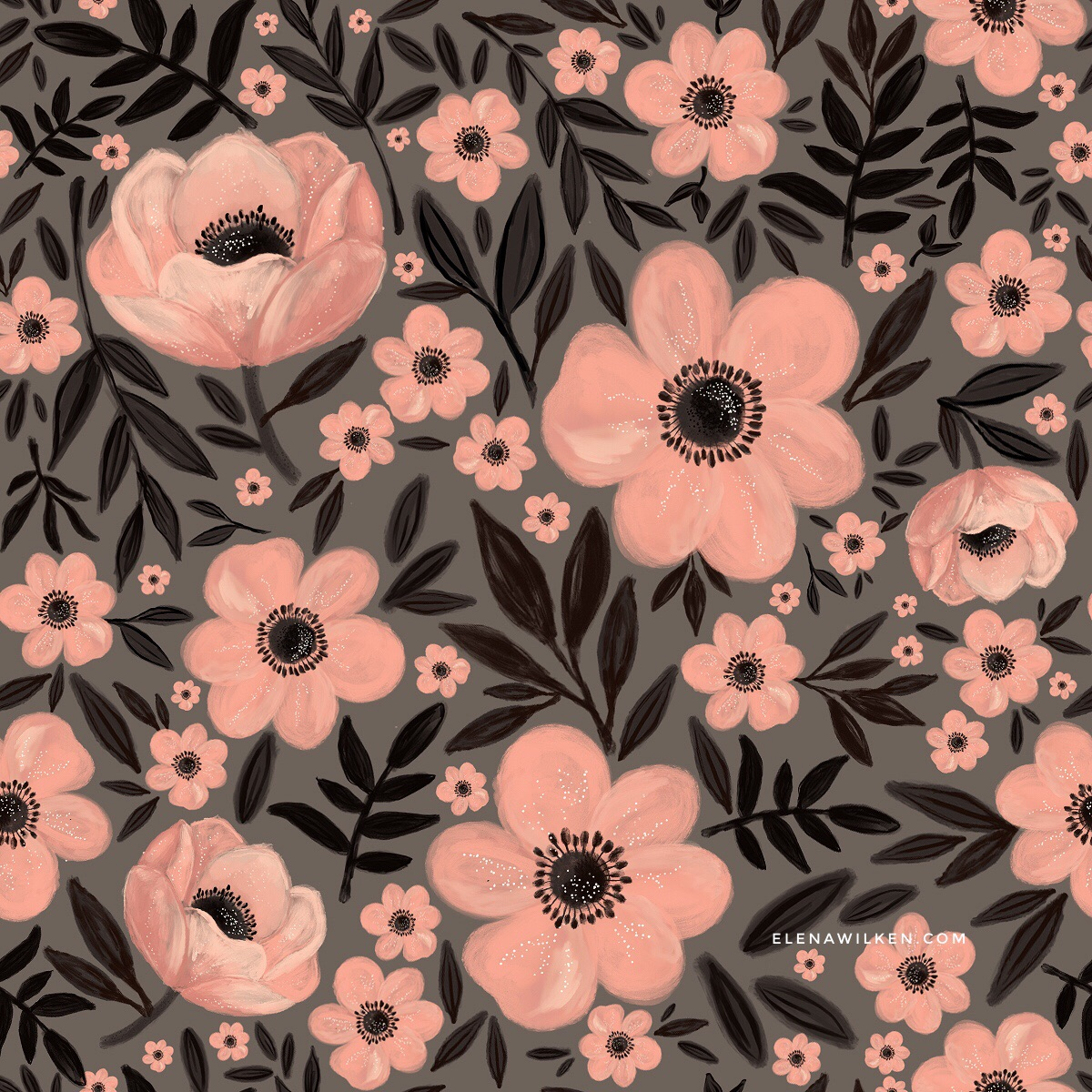 Anemones - Language of Flowers Alphabet /// matching surface pattern design in warm charcoal