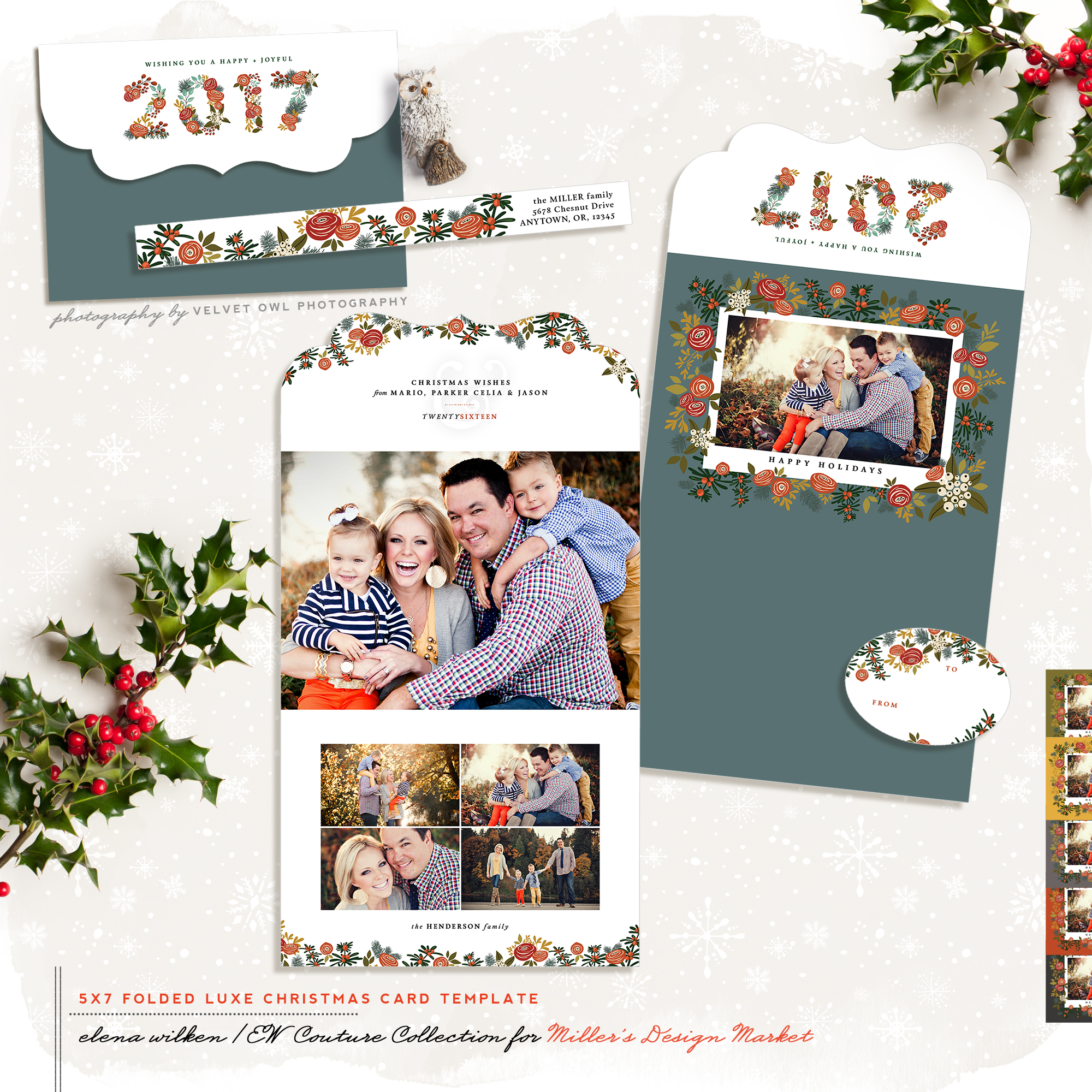 Christmas Morning 7x5 Top Folded Luxe Card, Address Label and Oval Sticker