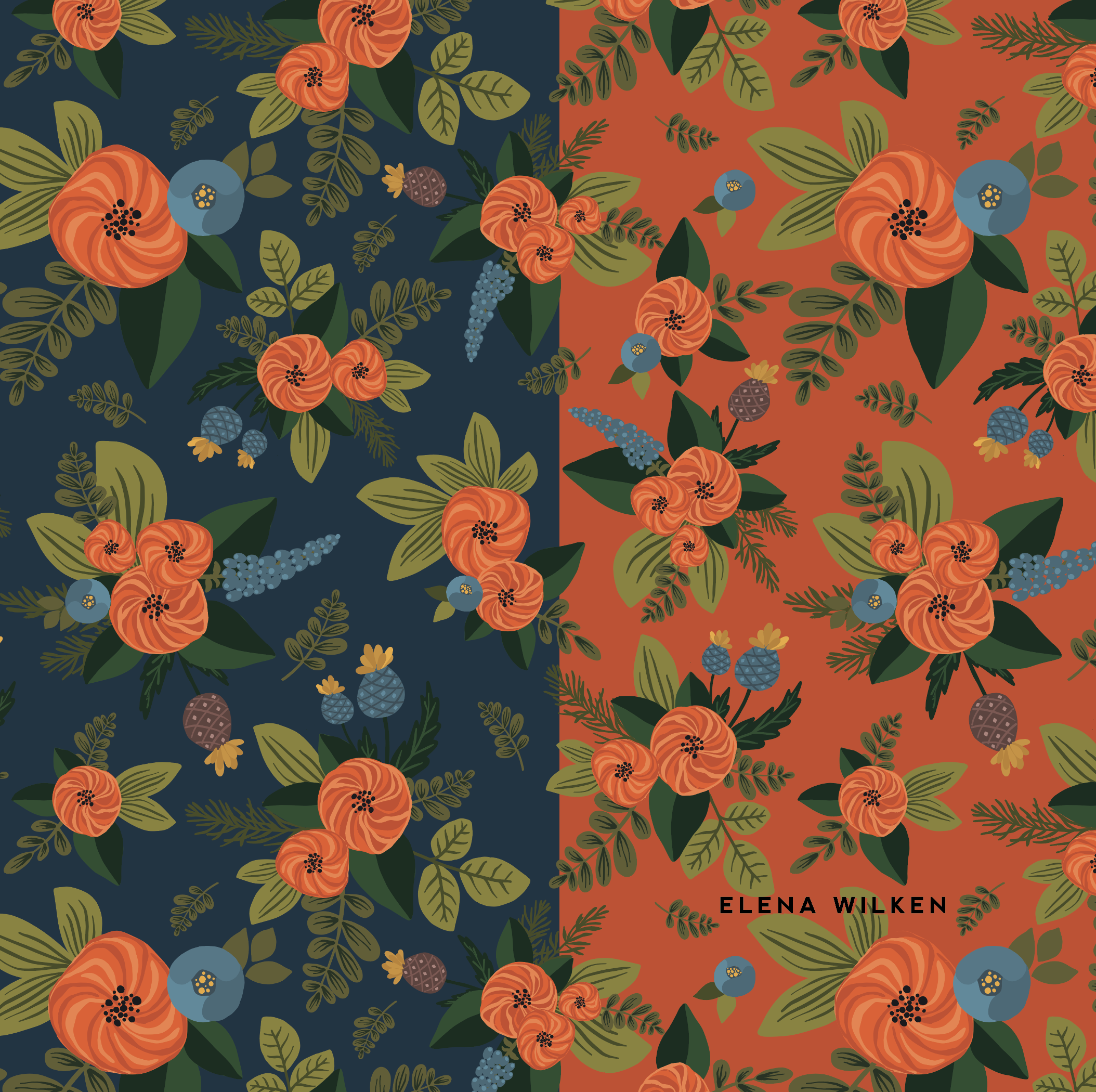 vector illustrations turned into a seamless floral surface pattern design - the dream is to see this one part of a fabric line one day, soon :)