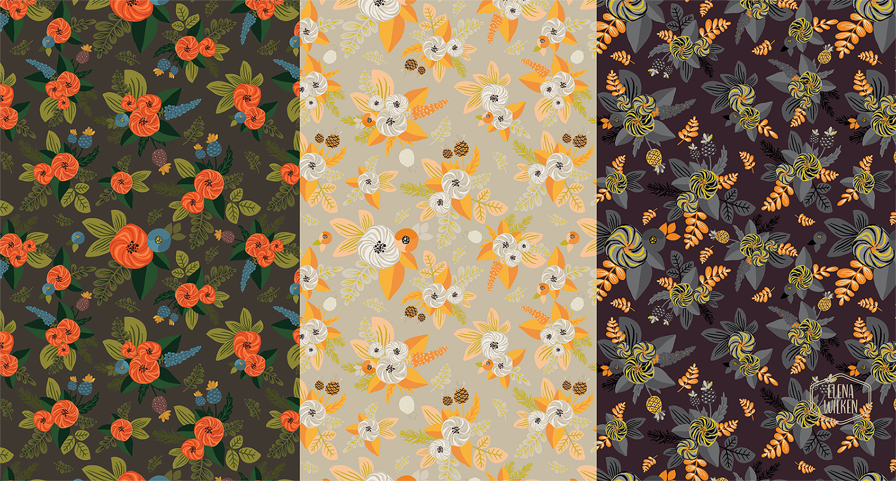 vector illustrations turned into a seamless floral surface pattern design - more color explorations