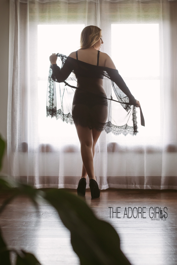 The Adore Girls Boudoir Photography black lace in window