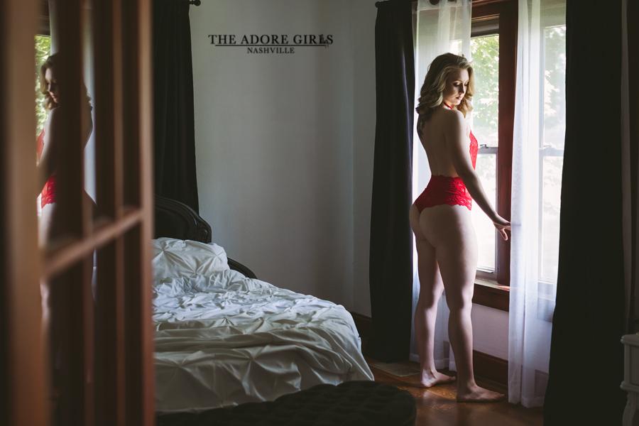 The Adore Girls Boudoir Nashville red bodysuit