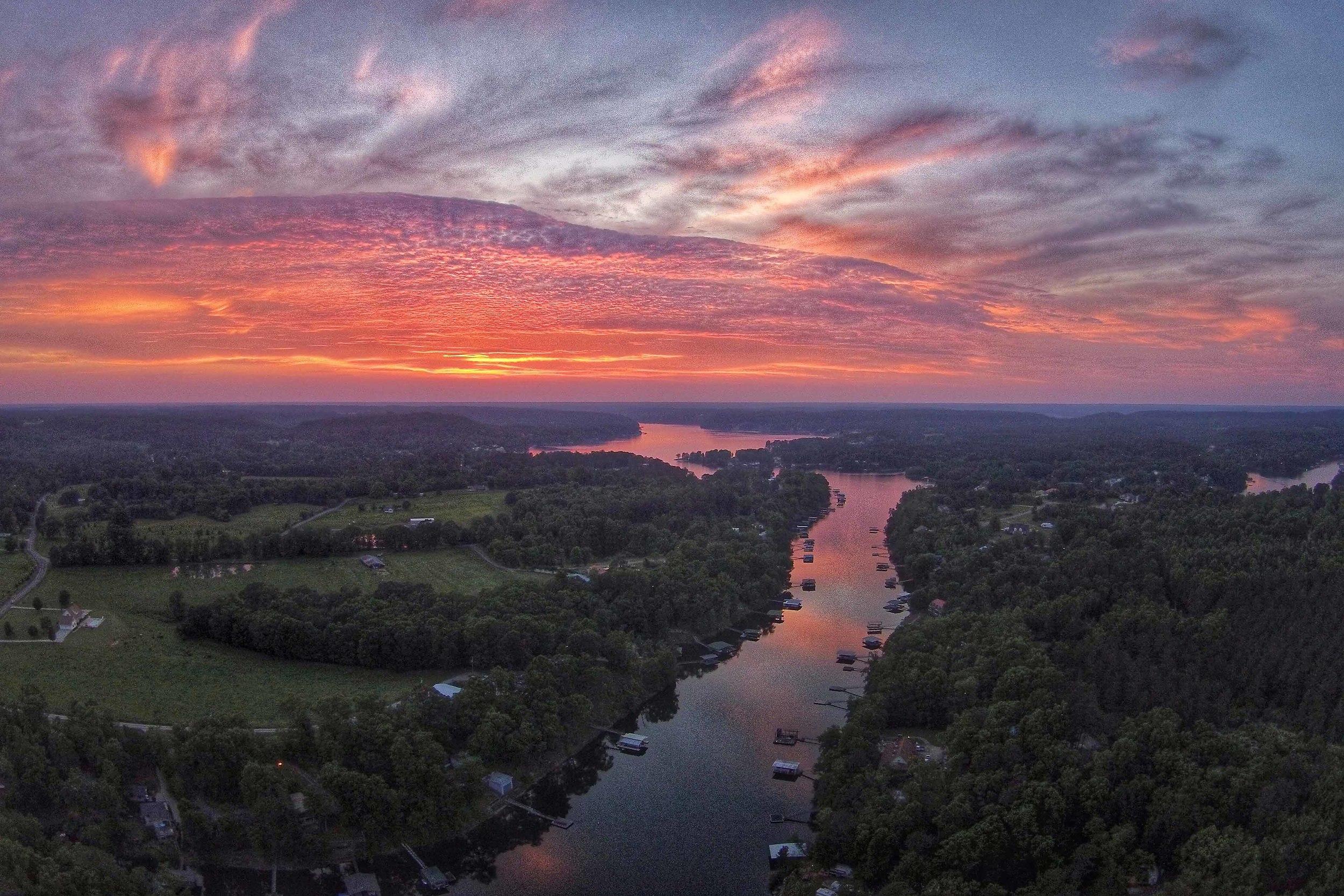 Sunset on Smith Lake from Calvert's Marina