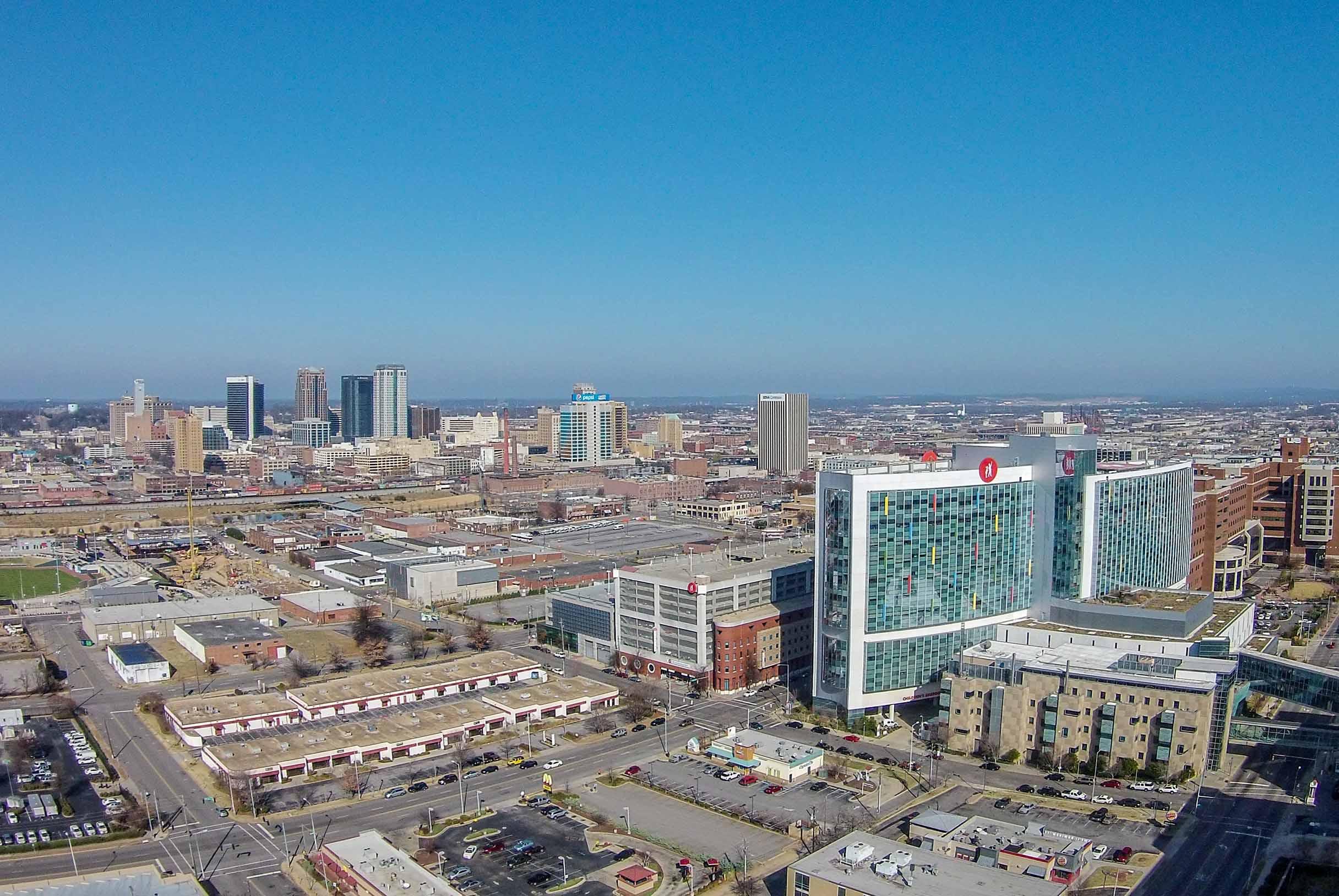 Children's Hospital in Birmingham Alabama Aerial Photography