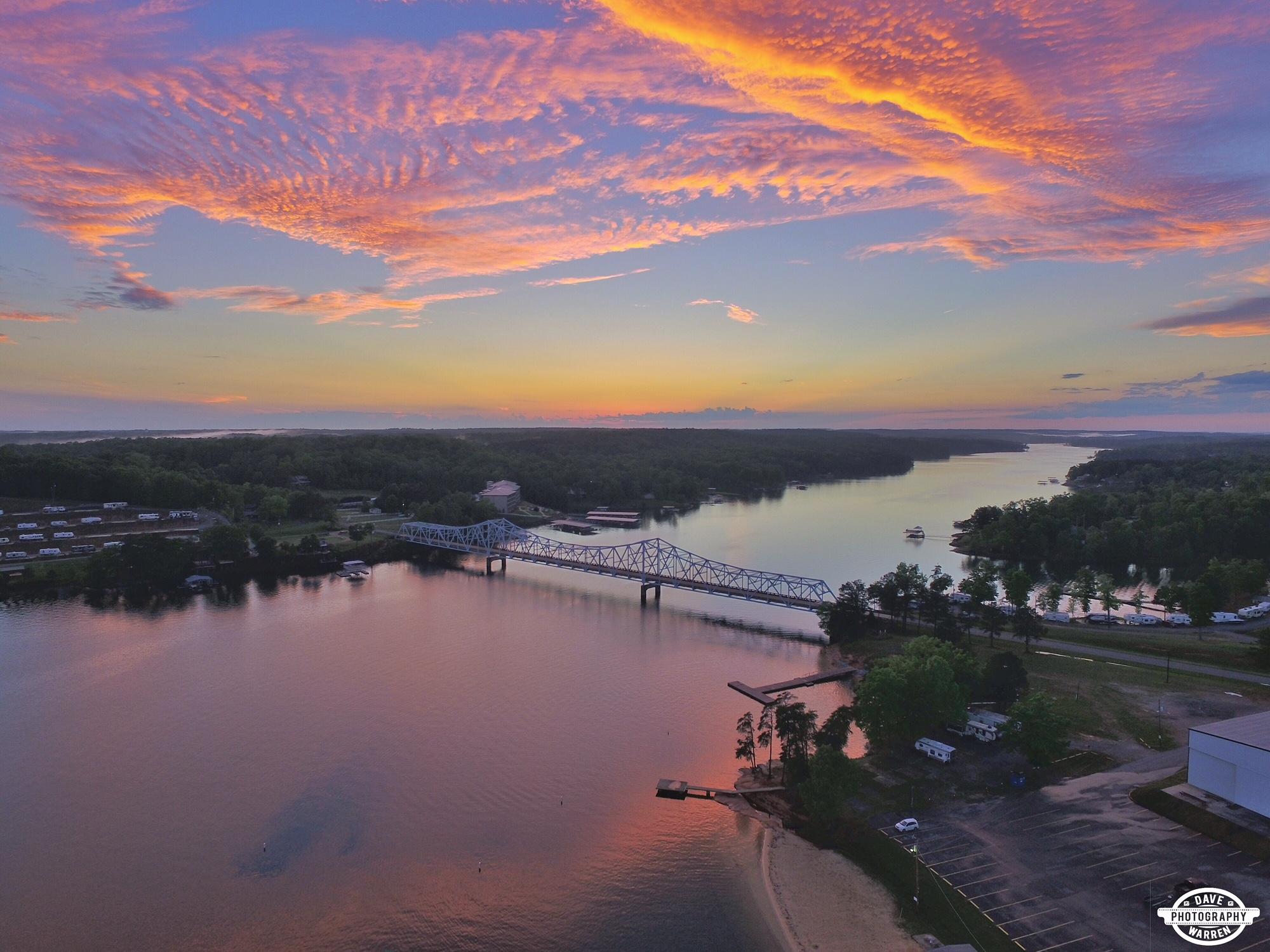 Sunset at Duncan Bridge on Smith Lake Alabama Aerial Photography