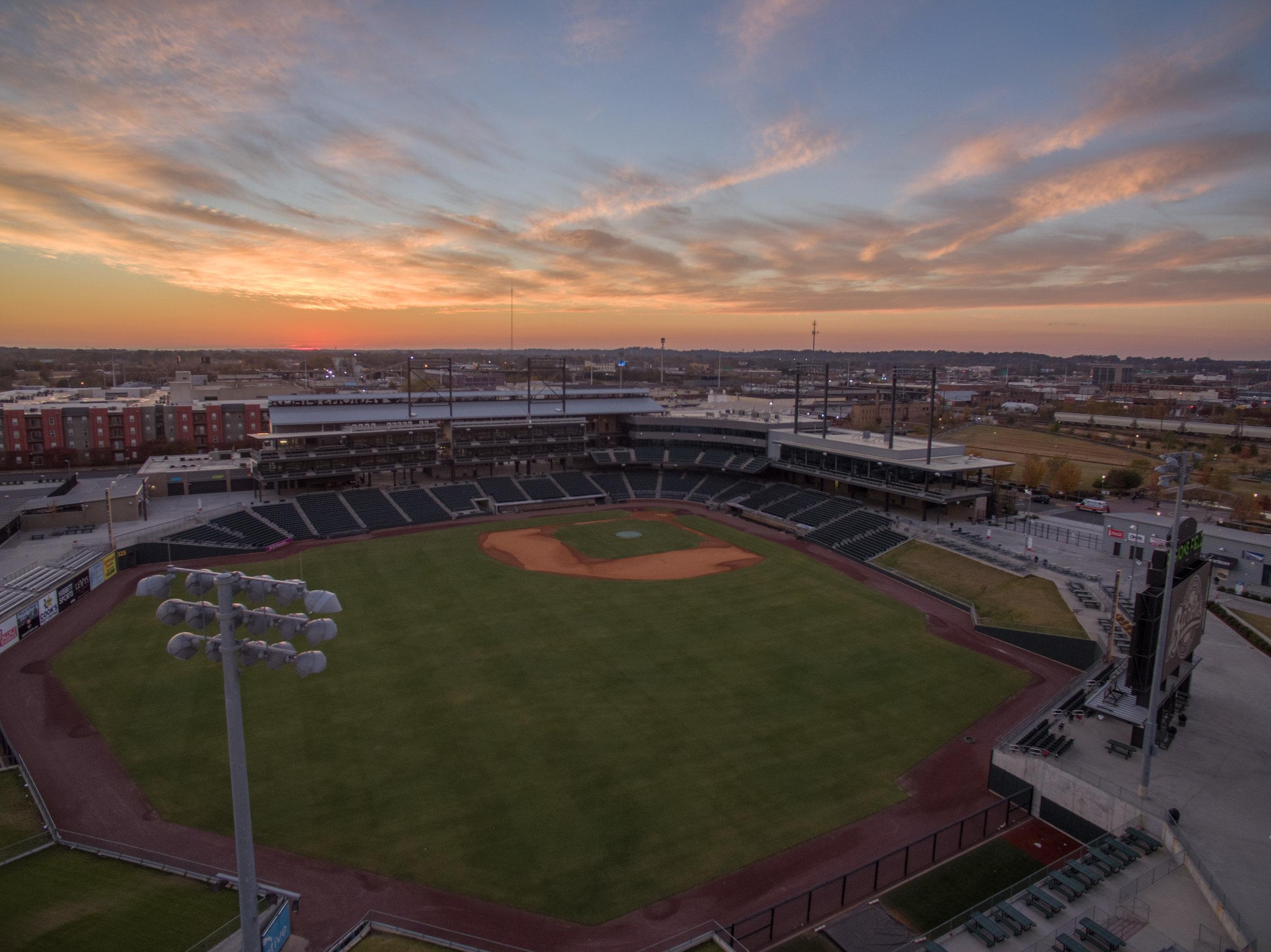 Sunset over Regions Field in Birmingham