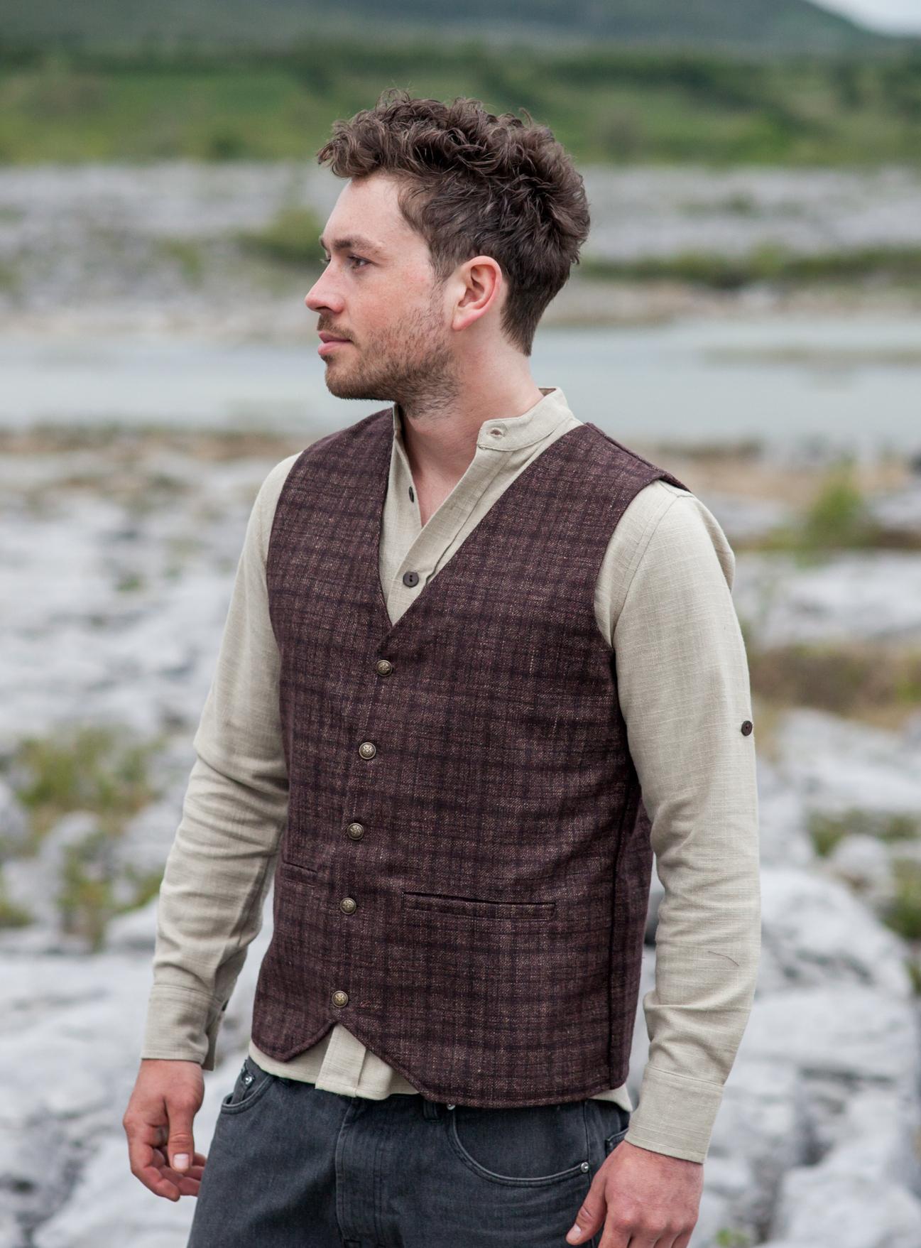 Mens Dark Brown Tweed waistcoat.jpg