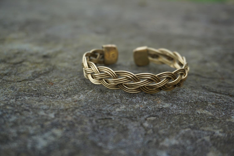 Chunky Celtic Knot Work Faux Gemstone Panel Bracelet Vintage Celtic Bracelet