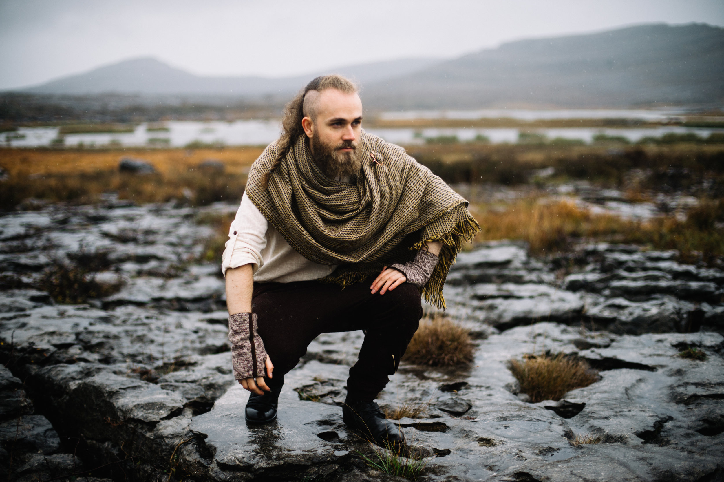 Leon Balmes modelling celtic fusion shawl and uisneach brooch photogrraphy by Kate Bean photography