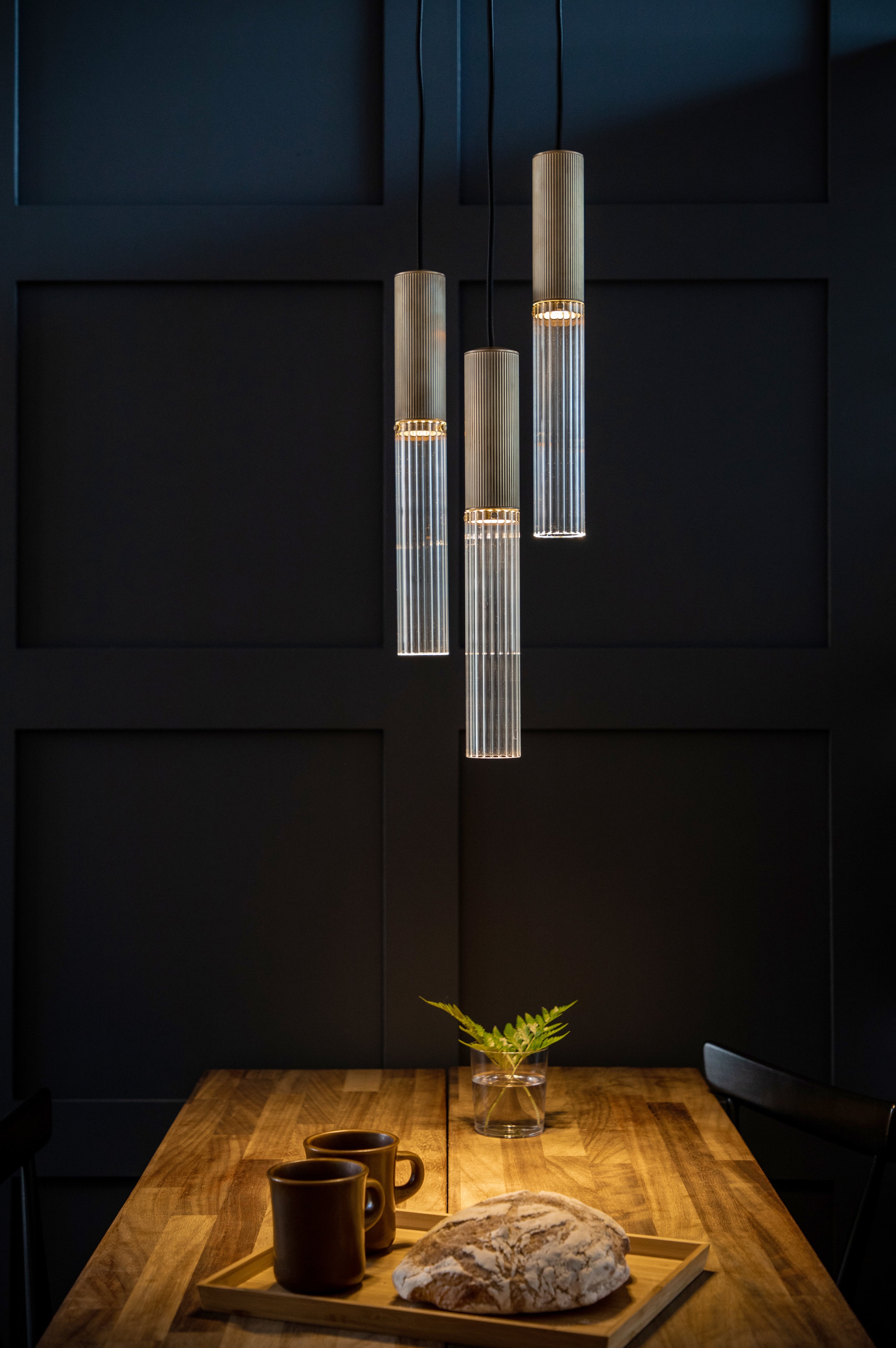 Flume 50 Pendant - Whether used singly or in groups, the flume 50 casts the perfect light downwards to create an intimate atmosphere. Available in antique brass or bronze finishesØ50mm x 375mm (h)