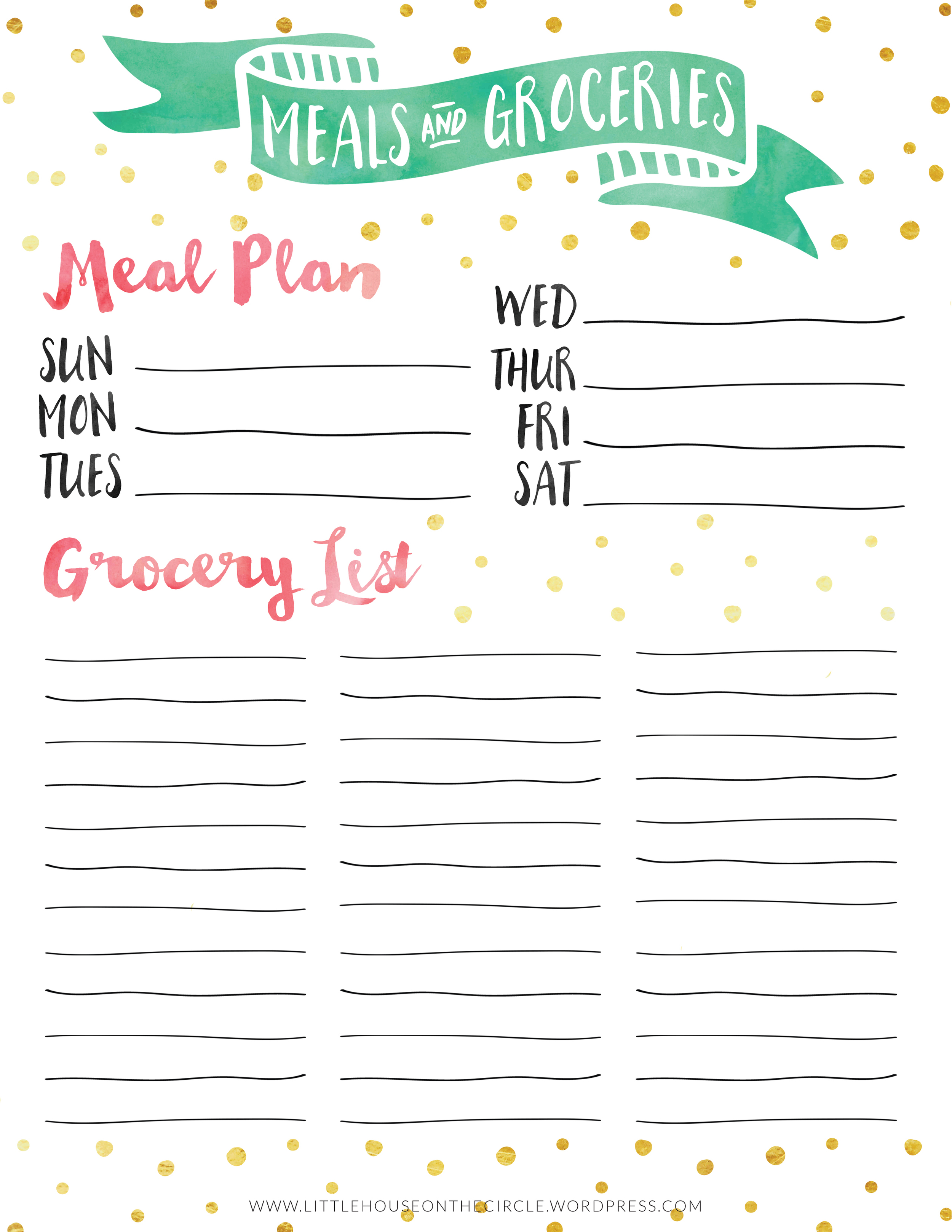 Little House on the Circle: Meal Plan & Grocery List Printable