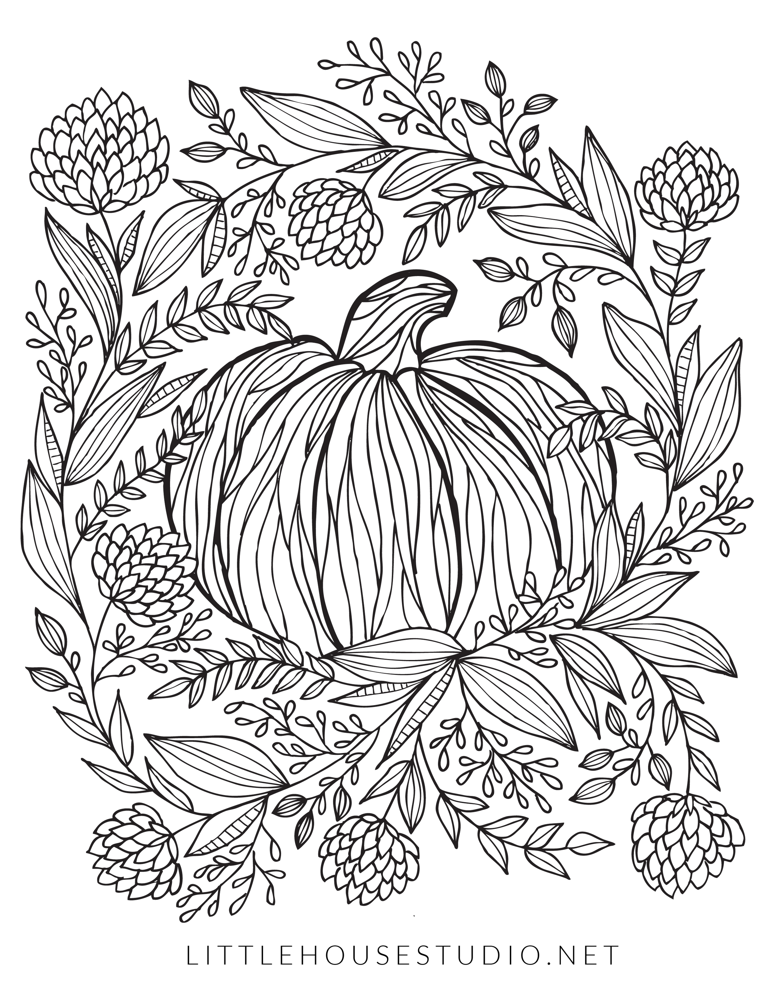 Click to download the Free PDF Pumpkin Coloring Page Printable