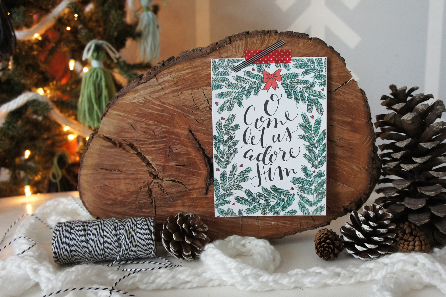 """Click the image to download the """"O Come Let Us Adore Him"""" PDF printable. This file includes both the 5x7 AND 8x10 sizes for you to print and enjoy! Merry Christmas!!"""