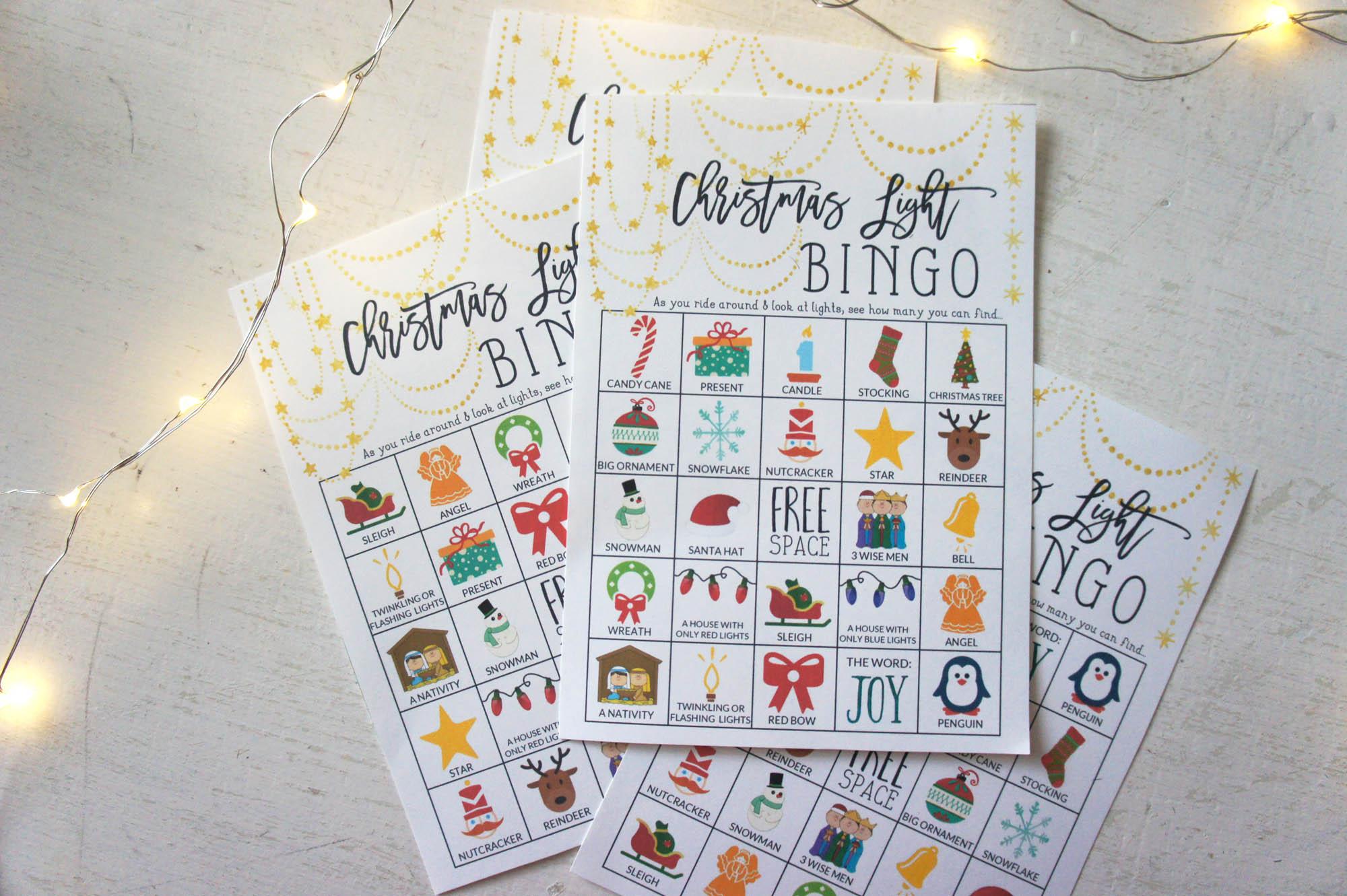 Christmas Light Bingo Cards from Little House Studio