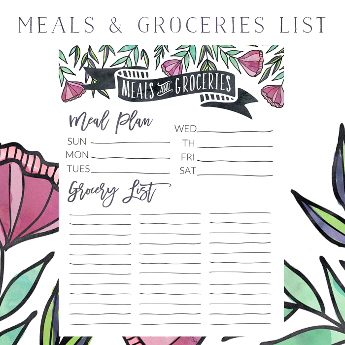 Subscriber Freebie | Meal Plan And Grocery List | Little House Studio