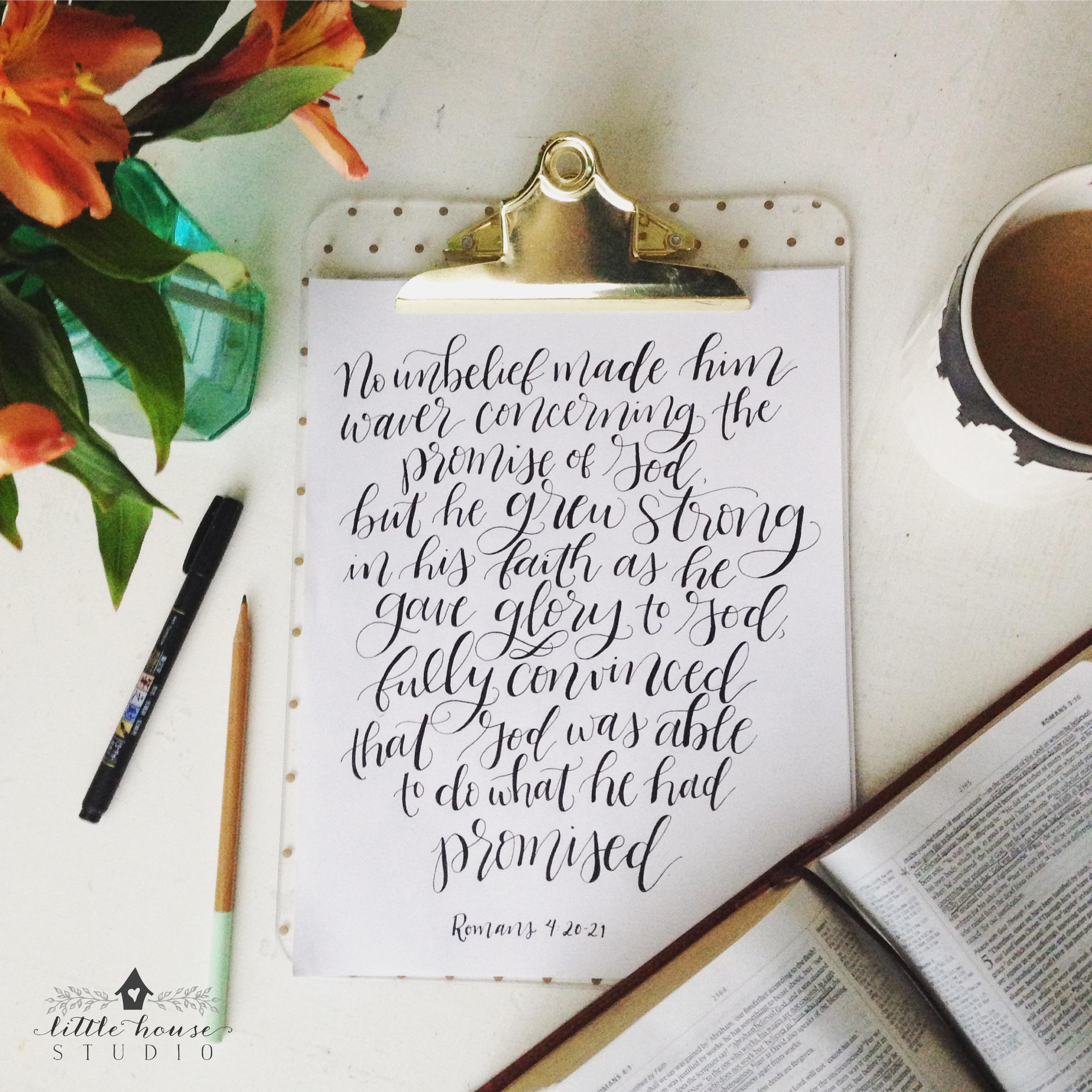 The Faith of Abraham || Romans 4:20-21 || Free Printable || Little House Studio