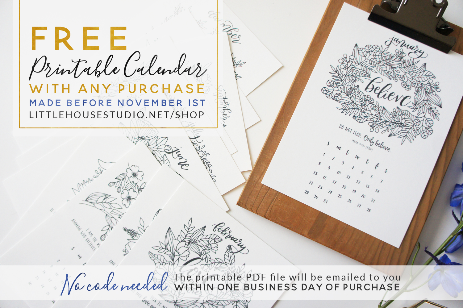 Also, ALL orders (any amount) will receive a bonus FREE 5x7 Coloring Calendar (pictured). No code needed! Just place an order and the printable PDF calendar will be delivered within 1 business day to the email address you provide at checkout.