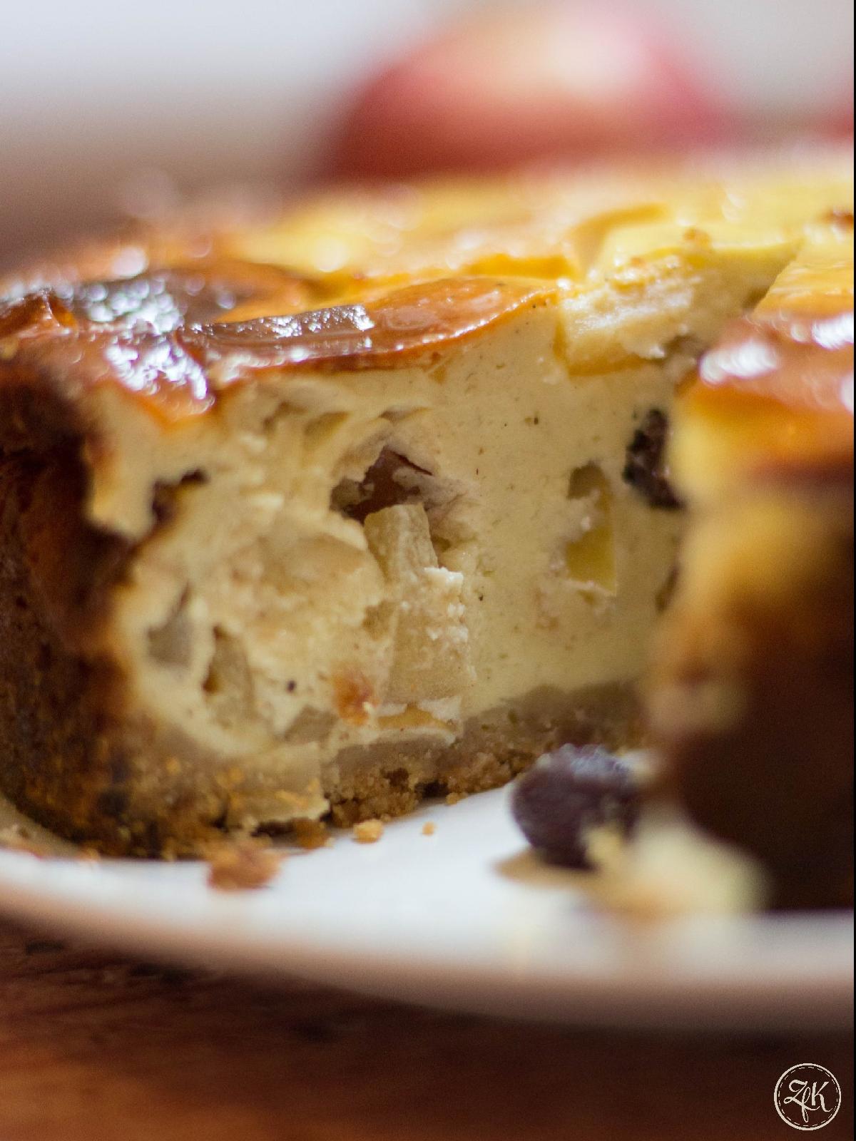 Das Herz des Apfel-Käse-Kuchens