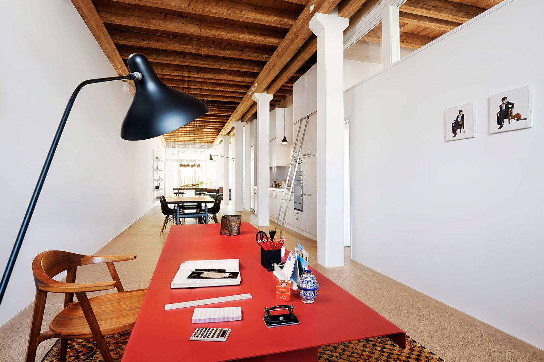 Home Staging, Musterloft, Arbeitsbereich, Leuchte Flynn Talbot Teppich Jan Kath,