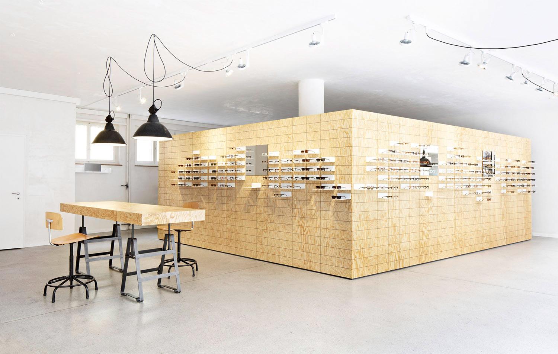 Retail Design, Flagshipstore, Brillendisplay, Tisch Atelier Haussmann