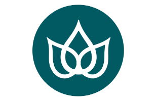 Lotus flower icon, yoga studio space offering courses and workshops in East Devon