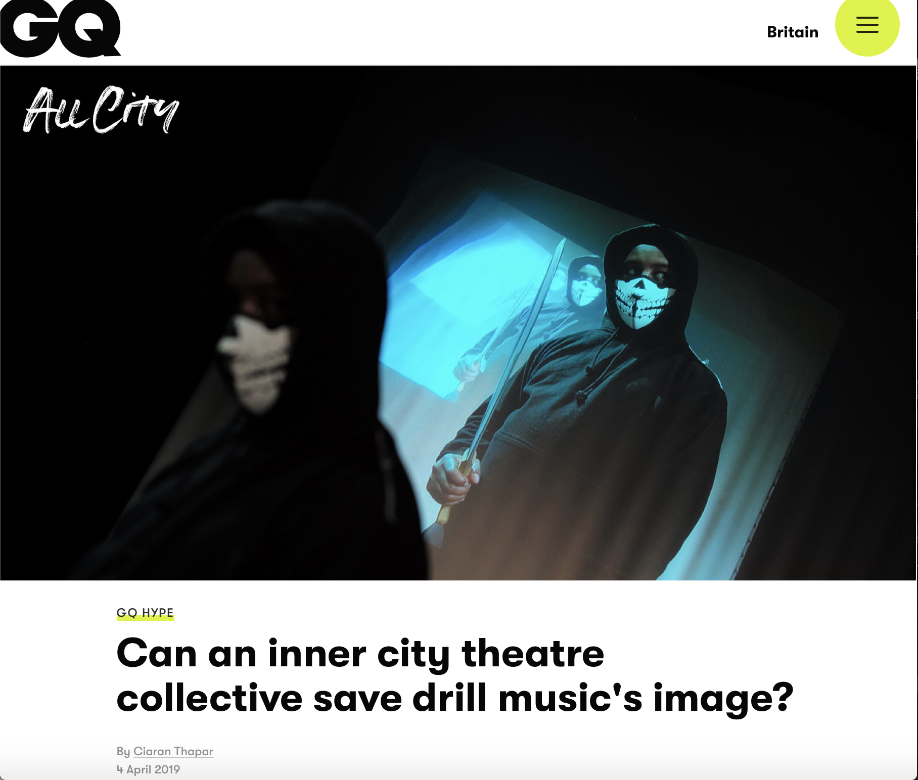 Read about HighRise Theatre's newest work in GQ -  #UKDRILLPROJECT currently in development