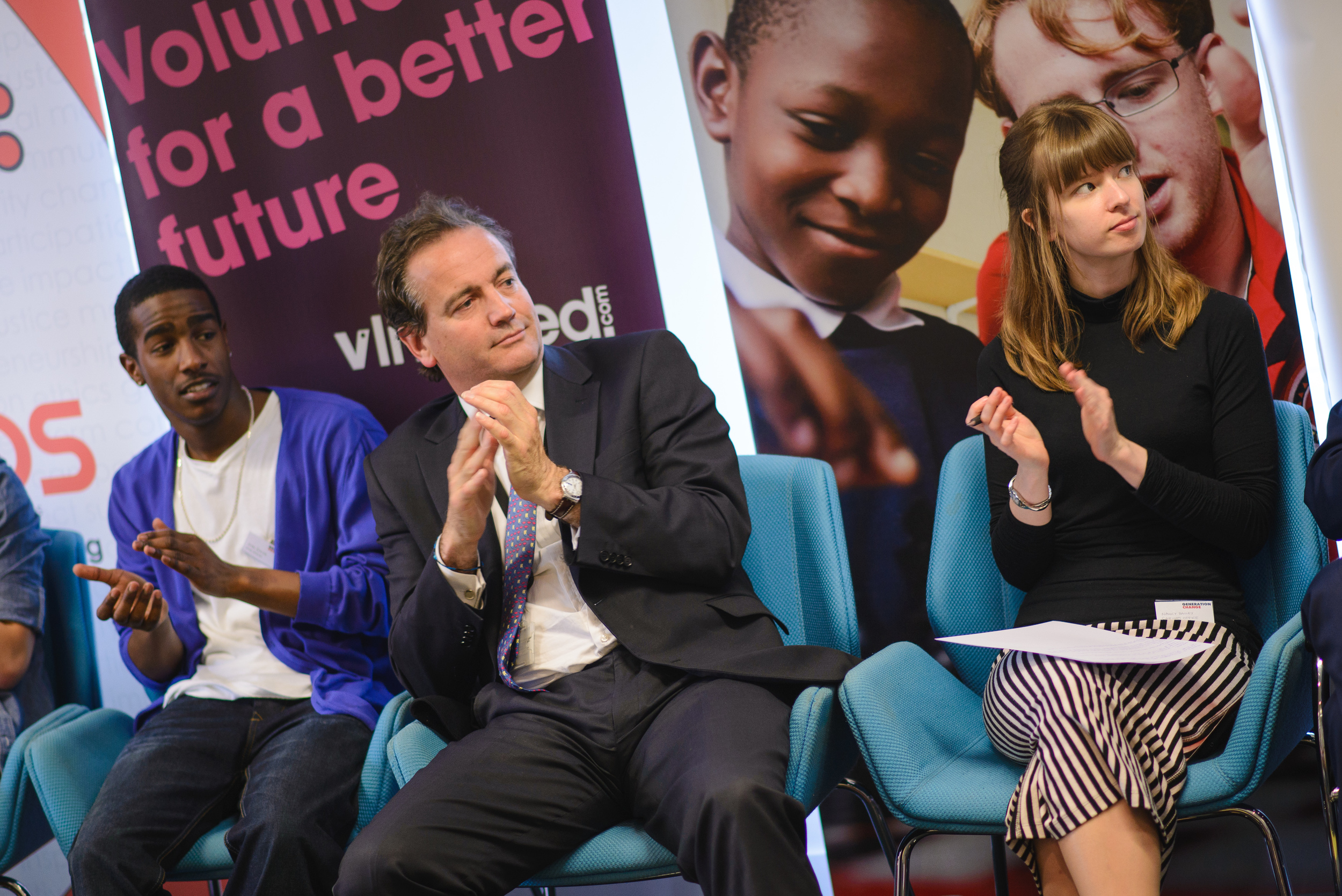 Left to right; Joel Davis (Tutors united), Nick Hurd (Minister Civil Society), Nancy Bailey (Cabinet office).