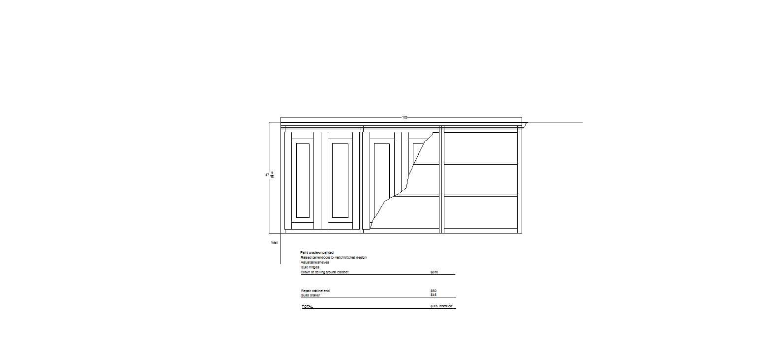 Partial plans for the custom cabinetry.