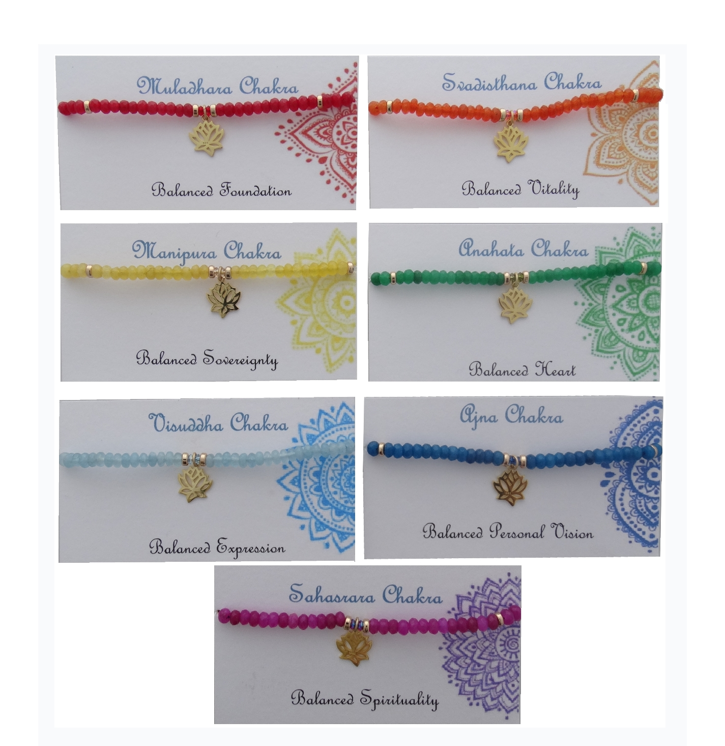 Chakra Bracelets - Each corresponds to a specific aspect of our lives.