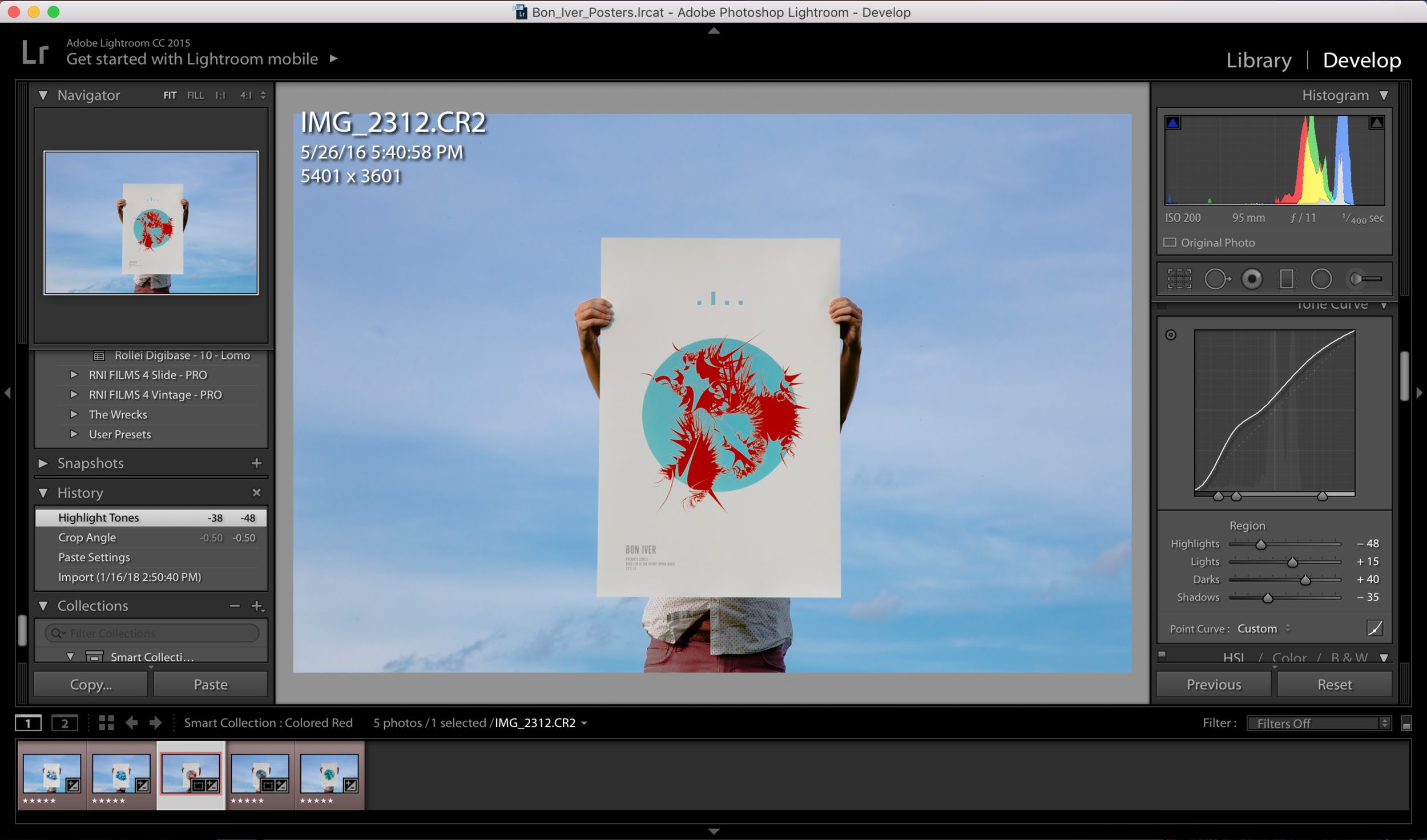Import the raw files and edit in Adobe Lightroom. Five star your favorites and label RED the final images.