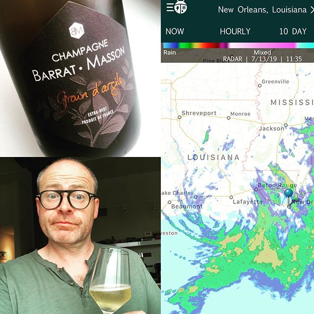 Ok, Hurricane Barry, lets do this. Waiting for the rain, ice at the ready for when the power goes. And plenty of wine and snacks (and water) set aside to share with friends as we wait this one out. Mainly just a (heavy) rain event here in NOLA. In the past I've been in the hospital during these but had this weekend off so I'm gonna just roll with it at home (while watching a ton of rain fall and hopefully not get too deep). Hoping friends in and around Lafayette and the rest of Acadiana make it through the weekend safely and with dry houses (and probably plenty of wine too, who are we kidding). #hurricanebarry #hurricanewine #hurricaneparty #hurricanenola #champagne
