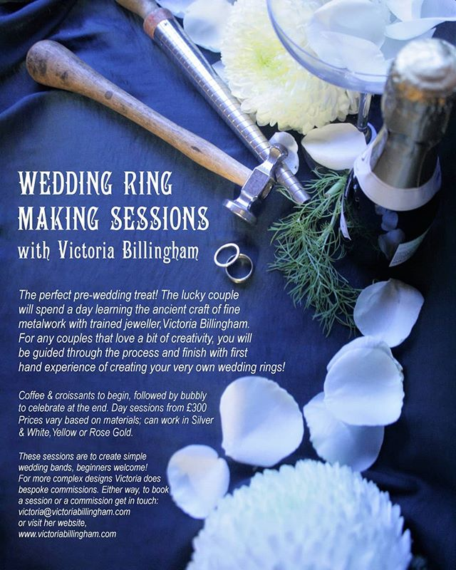 So as it coming up to wedding season I'm offering a special new package! Come and spend a day in my workshop making your wedding rings! Details are on this flyer - We will find your rings sizes prior to the day and decide on a design (this day is best for simple designs), then we will have lots of tasty coffee & croissants and hand craft beautiful rings! I will then take them to be hallmarked ready for the big day :) Available in silver & gold (white, yellow or rose), prices vary according to material and design :) ▪ I am right next to the @thedepotbakery, @netheredgepizza @sheffieldcheesemasters - all great places for lunch/dinner as well :) get in touch to start the ball rolling! ▪ #peddlermarket #92burtonroad #metalwork #weddingrings #weddingphoto #weddingringmaking #depotbakery #tampercoffee #kelhamisland #weddingseason #victoriabillingham #hammertime #buffergirls #sheffieldissuper #sheffieldinsta #peddlermarket #netherdgepizza #sheffieldcheesemasters #sheffieldweddings #innercityweddings #sheffieldartist #sheffieldcraft #sheffieldmakers #madeinsheffield