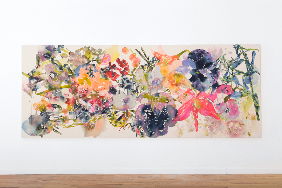 """SOLD   Everything Ends In Flowers  fluid acrylic on canvas  5 ft 7"""" x 16 ft"""